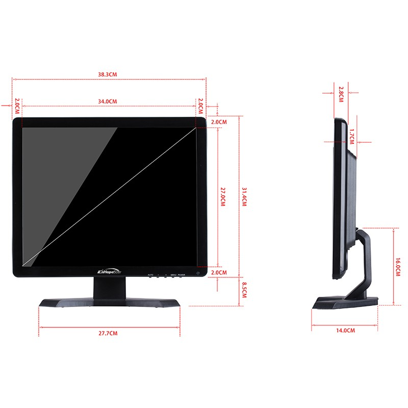Chinese factory 17 inch LED LCD security CCTV monitor with BNC AV input