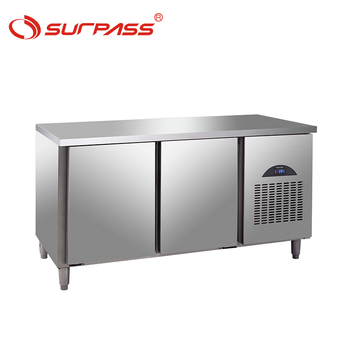 2 Doors stainless steel commercial kitchen worktable refrigerator
