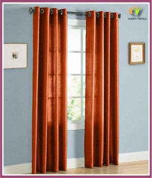 Orange Faux Silk Grommet Curtain Home Textile Curtain
