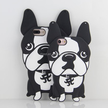 3D Bulldog Design Soft Silicone Cover Case For iPhone Bull Dog Animal Cartoon Rubber Cover