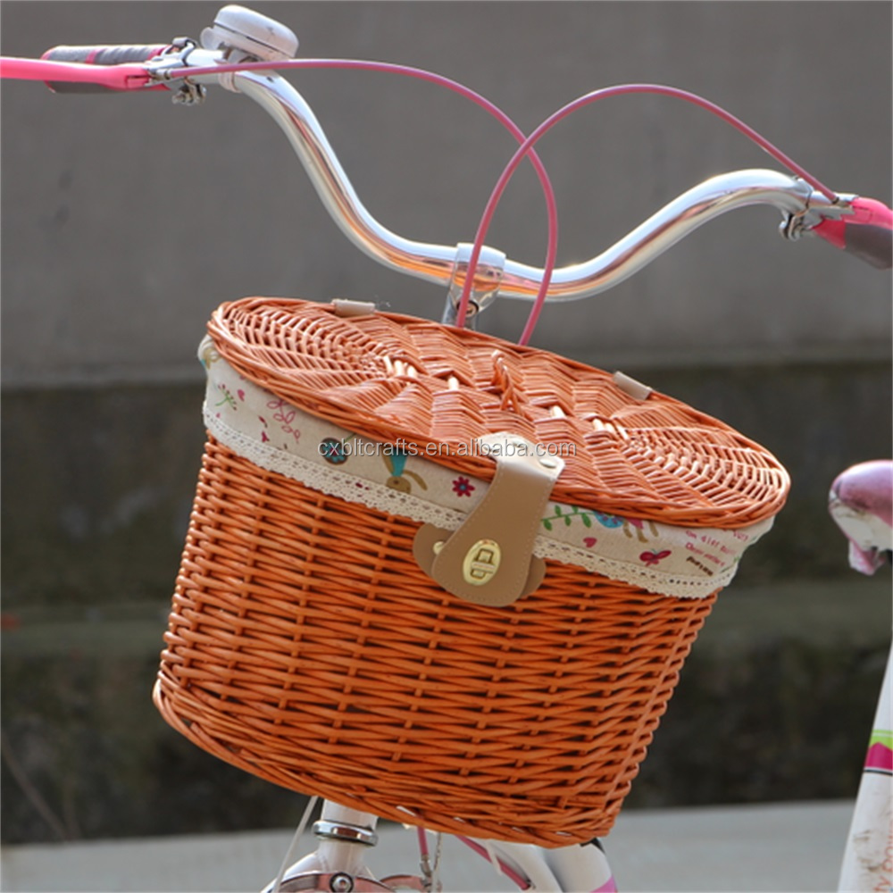 China cheap wicker bike basket spelize in producting/fashional classic wicker basket for bicycle