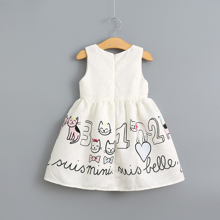 2017 European Girls summer cotton cartoon cart Dresses Girls Princess sleeveless Party Dress Girl summer new hot selling vest