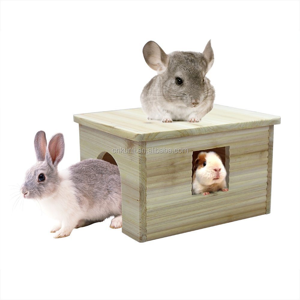 "Large Flat Roof Hideout House With Window 12.6x9.5x7.1"" Nnatural Wood for Chinchilla Guinea pigs Rabbit Squirrel"