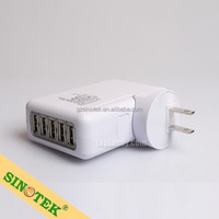 SINOTEK UK,EU,US,AU plugs Plug 4 slot factory price Replacement mobile phone charger 5 Port USB Travel Charger