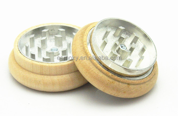 Perfect hand feeling Smooth Woodern Herb Grinder with CNC process 2 Pieces Herb grinder 55mm Smoking Pipe Tobacco Grinder
