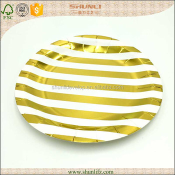 Festive and Celebration Occasion christmas decoration chervon gold paper plate