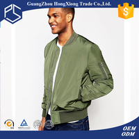 Hongxiong oem popular cheap goods round neck zipper clim fit green casual woodland jackets