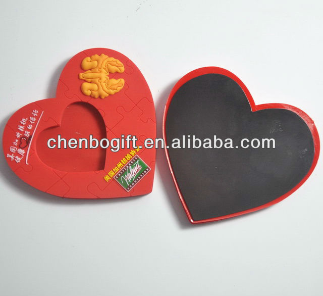 OEM Factory magnetic 3d soft pvc photo frame / rubber pictures frame magnet / heart shape magnetic pvc frame