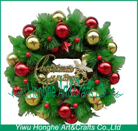 40cm christmas artificial green wreath with plastic ball cheap
