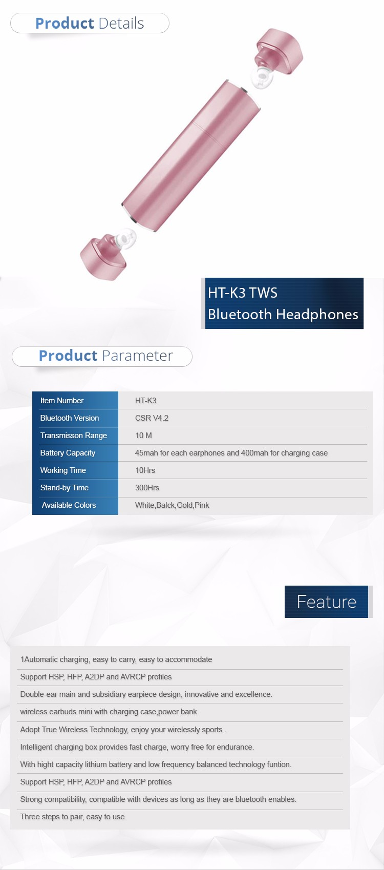 Hot selling Wireless Bluetooth earphone 4.1Earbud Mini Bluetooth Stereo Invisible Earphone with power bank