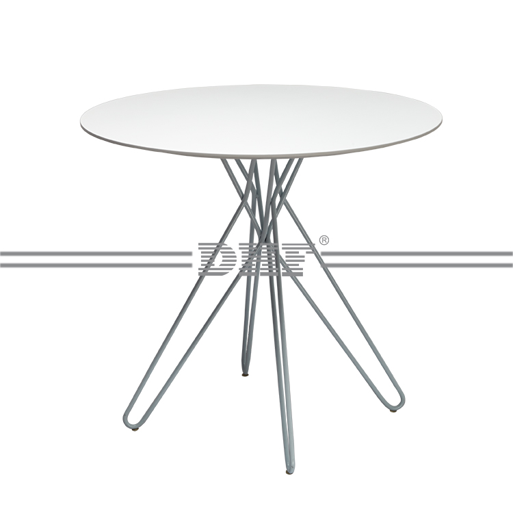 White Round Tea Plastic Table with Powder Coated Legs