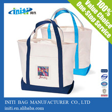 Promotional top quality natural canvas tote bags with pockets