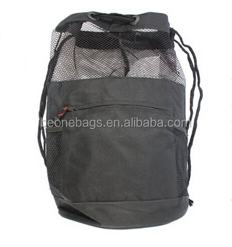 Sport Gym Vertical 600D Polyester Drawstring Backpack with Mesh