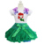 Girls Green Pettiskirt Tutu Bling Embroidered Ariel Princess Short Sleeves Tee Party Dress 1-7Y
