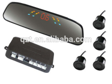 accept paypal LED High-tech rear view mirror car parking sensor system with 4 Sensors