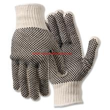 white cotton knitted PVC dotted work gloves
