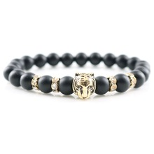 Antique Gold Tiger Head Fashion Charm Bracelets & Bangles 8 mm Matte Onyx Stones Beads Men Jewelry