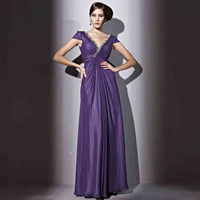 Coniefox 81230 Elegant Cap Sleeve Purple Evening Dress for Party