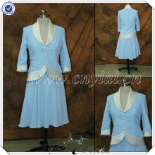 PP2595 Elegant Blue Chiffon Tea Length Mother of The Bride Dresses with long jacket
