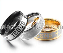 China Factory hot sale church Religious jewelry gold stainless steel jesus rings