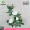 Making artificial flower Rose with 3 bud flowers for bus station hall decoration