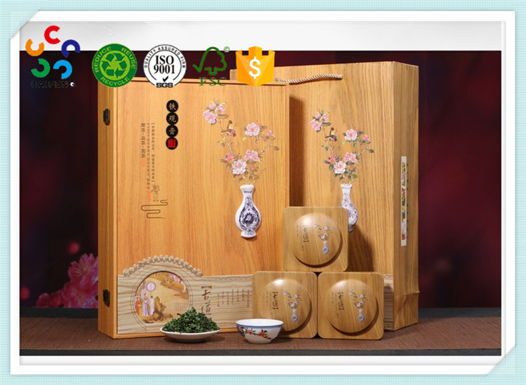 Customized Decorative floral carved high quality wooden packaging case