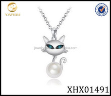 Silver 925 Crystal Aquamarine Color Simulated Pearl Cat Pendant Necklace