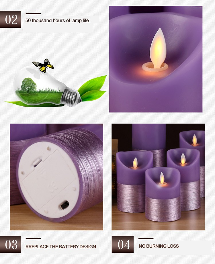 Creative Purple half drawing paraffin wax moving wick flameless LED candle