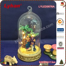new product LED decoration glass dome for Christmas Nativity scene