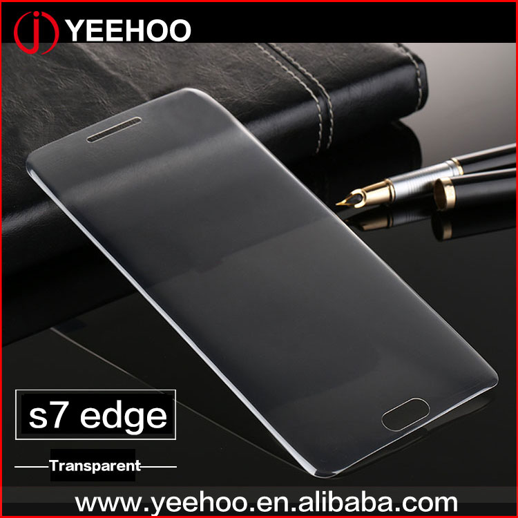 whole covered full transparent protective film for samsung S7 edge 3d tempered glass screen protector