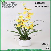 China factory wholesale artificial flowers, yellow artificial dancing lady orchid flowers