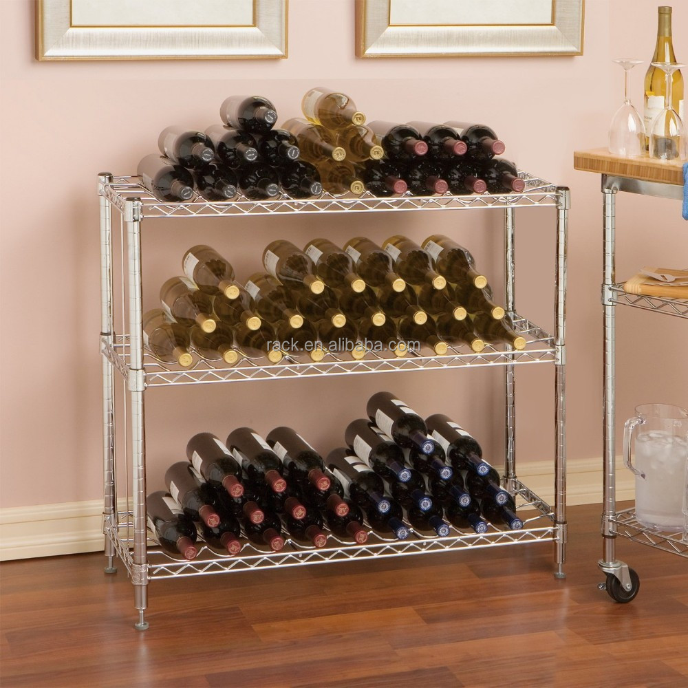 High Quality DIY Metal Wine Bottle Display Rack , NSF Approval