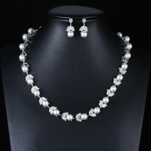 Fashion stock cubic zircon crystal pearl necklace set for women