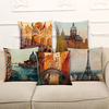 Autumn France Paris design cotton linen office, bed head rest painting printed pillow and pillow covers