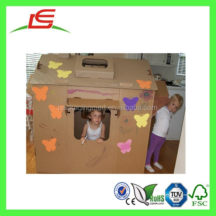 Q1351 China Supplier OEM Customized Paintable Corrugated Cardboard Playhouse For Kids