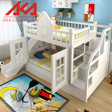 Colorful Hot Sale Kids Furniture Wood Children Double Layer Bunk Bed