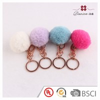 promotional fake fox fur pompom ball key ring accessories, faux fur plush ball keychain
