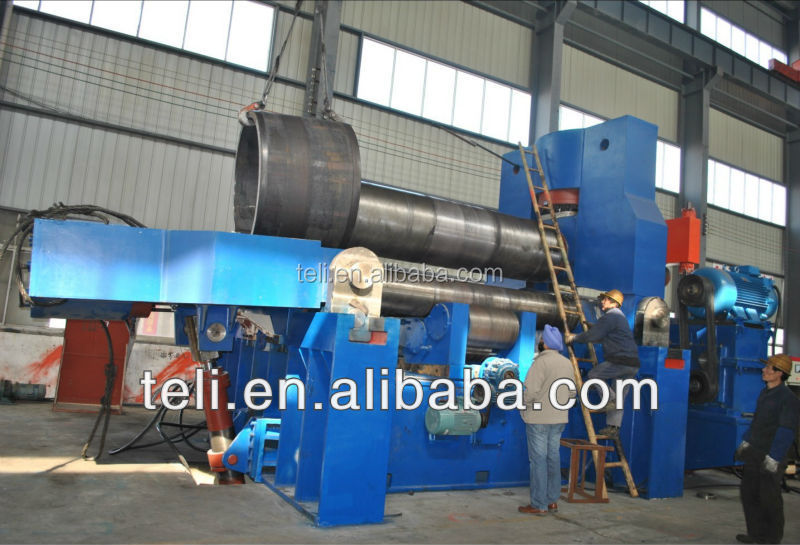 CNC three roller steel plate rolling machine