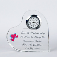 Crystal Clock Heart Shape Wedding Souvenir Gifts For Guest