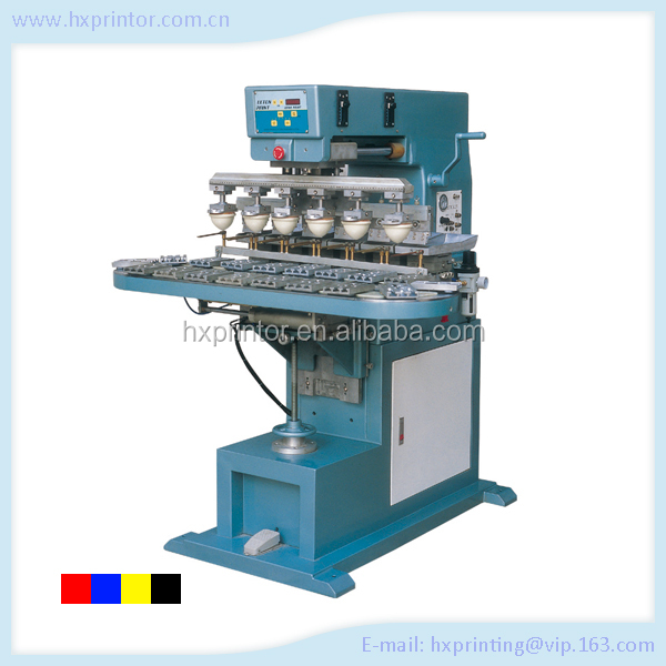 HX-M6C manufacturer new 6 color colosed ink cup pad printing equipment for sale