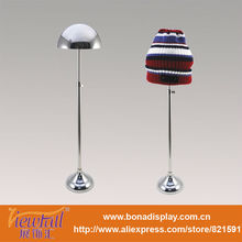 Adjustable height stainless steel hat rack for display ball cap