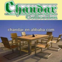 outdoor garden teak wood brushed aluminum furniture