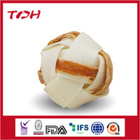 OEM Natural Rawhide Ball with chicken dog chews pet snacks