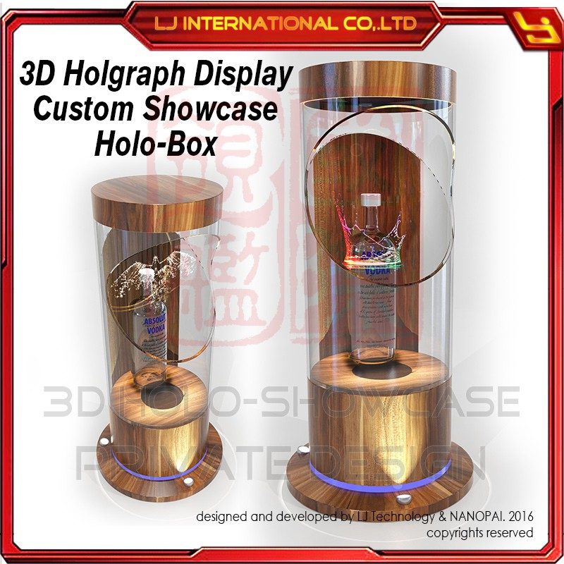 manufacturer professional custom cylinder holo box 3d hologram display wine advertising showcase holograph display