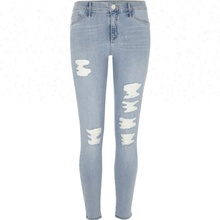 Royal wolf denim jeans manufacturer light blue ripped embroidered jeggings jeans tops girls jeans