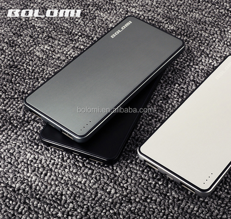 Ultra thin meal power supply 8000mAh power bank with two USB port quick charge