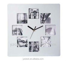 new designed square photo frame wall clock 2015