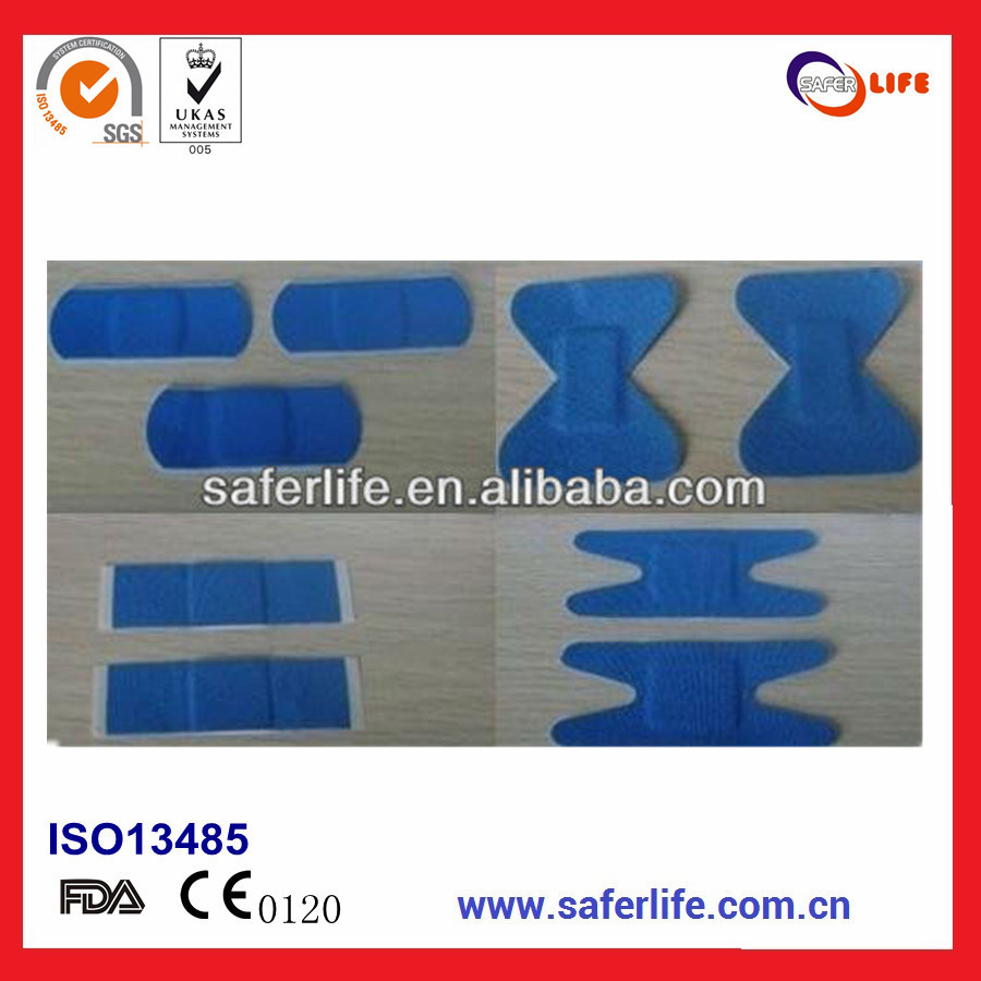 2017 High Quality Wholesale Aluminum Metal Detectable First Aid For Food Preparation Elastic Adhesive Blue Bandage Plasters