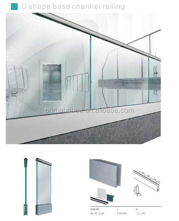 outdoor aluminum glass balustrade / glass balustrade fittings U channel