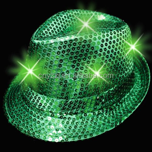 Burlesque Fancy Dress Led Flashing Sequin Fedora Party Hats